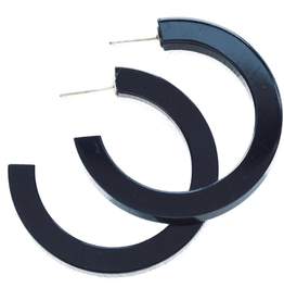 "2"" Lucite Hoop Earring, Black - INK+ALLOY"