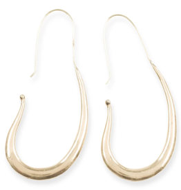 "Ink + Alloy Elongated Smooth Hoop Brass Earrings 3"" - INK+ALLOY"