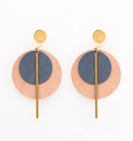 "Ink + Alloy 2.75"" Slate & Blush Leather + Brass Earrings - INK+ALLOY"