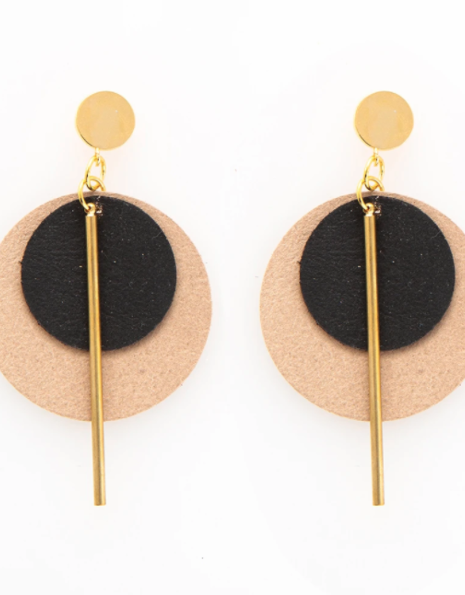 """Ink + Alloy 2.75"""" Black & Taupe Leather + Brass Earrings - INK+ALLOY"""