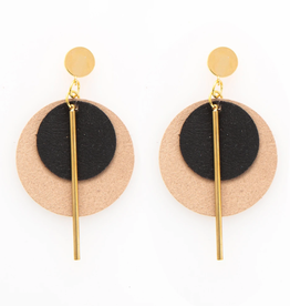 "Ink + Alloy 2.75"" Black & Taupe Leather + Brass Earrings - INK+ALLOY"