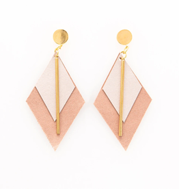 """3.25"""" Rose Gold & Oyster Leather + Brass Diamond Earrings - INK+ALLOY"""