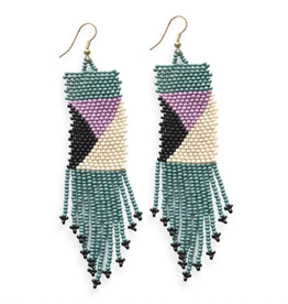 "Ink + Alloy 3.75"" Geometric Fringe Seed Bead Earring - INK+ALLOY"