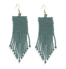 "Ink + Alloy 3.75"" Seed Bead Dangle Earrings, Teal - INK+ALLOY"
