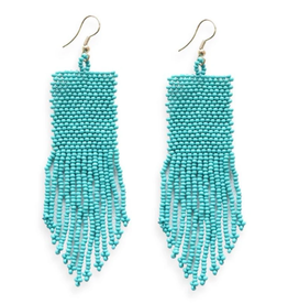 "3.75"" Seed Bead Dangle Earrings, Turquoise - INK+ALLOY"