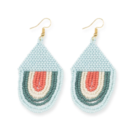"Ink + Alloy 3"" Seed Bead Draped 'Sunset"" Earrings, Light Blue - INK+ALLOY"