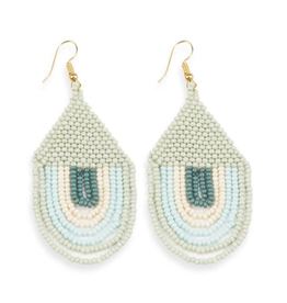 """Ink + Alloy 3"""" Seed Bead Draped 'Sunset"""" Earrings, Mint - INK+ALLOY"""