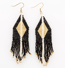 Black + Gold Luxe Diamond with Fringe Seed Bead Earrings - INK+ALLOY