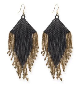 "Ink + Alloy 4"" Black + Gold Fringe Seed Bead Earrings - INK+ALLOY"