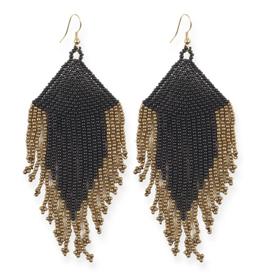 "Ink + Alloy 4"" Black + Gold Fringe Seed Bead Earrings - INK+ALLOY"
