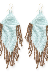 "Ink + Alloy 4"" Light Blue + Gold Fringe Seed Bead Earrings - INK+ALLOY"