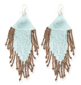 "4"" Light Blue + Gold Fringe Seed Bead Earrings - INK+ALLOY"
