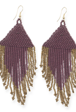 """Ink + Alloy 4"""" Port + Gold Fringe Seed Bead Earrings - INK+ALLOY"""