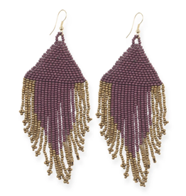 "Ink + Alloy 4"" Port + Gold Fringe Seed Bead Earrings - INK+ALLOY"