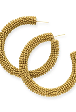 "Ink + Alloy 2"" Seed Bead Hoop Earrings, Citron - INK+ALLOY"