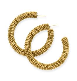 """2"""" Seed Bead Hoop Earrings, Citron - INK+ALLOY"""