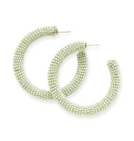 """2"""" Seed Bead Hoop Earrings, Mint - INK+ALLOY"""