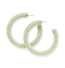 "Ink + Alloy 2"" Seed Bead Hoop Earrings, Mint - INK+ALLOY"