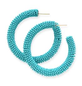 "Ink + Alloy 2"" Seed Bead Hoop Earrings, Turquoise - INK+ALLOY"