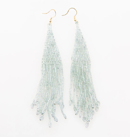 "5"" Iridescent Sky Long Fringe Seed Bead Earrings - INK+ALLOY"