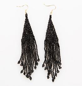 "5"" Metallic Black Long Fringe Seed Bead Earrings - INK+ALLOY"
