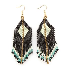 "3.75"" Black + Mint Diamond Seed Bead Earrings - INK+ALLOY"