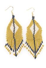 "Ink + Alloy 3.75"" Citron + Ivory Diamond Seed Bead Earrings - INK+ALLOY"