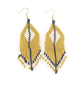 "3.75"" Citron + Ivory Diamond Seed Bead Earrings - INK+ALLOY"