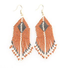 "Ink + Alloy 3.75"" Rust + Grey Diamond Seed Bead Earrings - INK+ALLOY"