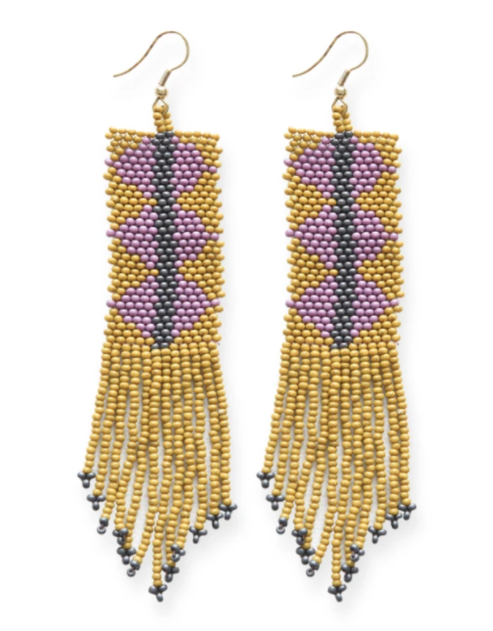 """Ink + Alloy 4"""" Citron and Lilac Triangles with Fringe Seed Bead Earrings - INK+ALLOY"""