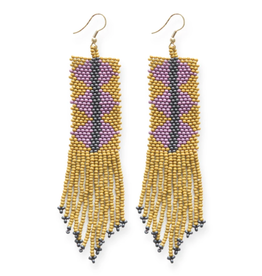 """4"""" Citron and Lilac Triangles with Fringe Seed Bead Earrings - INK+ALLOY"""
