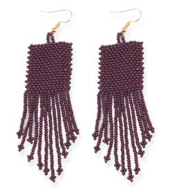 "3.75"" Seed Bead Dangle Earrings, Port - INK+ALLOY"