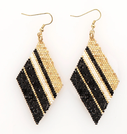 "Ink + Alloy 3.5"" Gold, Black, and Ivory Diamond Luxe Earrings - INK+ALLOY"