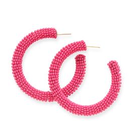 """2"""" Seed Bead Hoop Earrings, Hot Pink - INK+ALLOY"""
