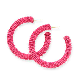 "Ink + Alloy 2"" Seed Bead Hoop Earrings, Hot Pink - INK+ALLOY"