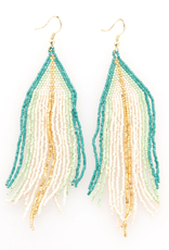 """Ink + Alloy 4.25"""" Blue, White + Gold Seed Bead Fringe Earrings - INK+ALLOY"""