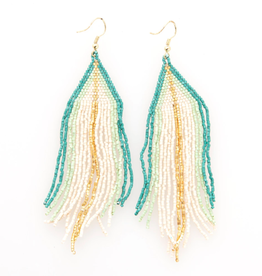 "4.25"" Blue, White + Gold Seed Bead Fringe Earrings - INK+ALLOY"