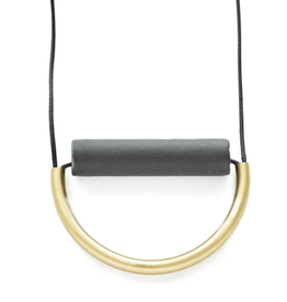 """31"""" Black Ceramic And Brass Necklace With Leather Cord - INK+ALLOY"""