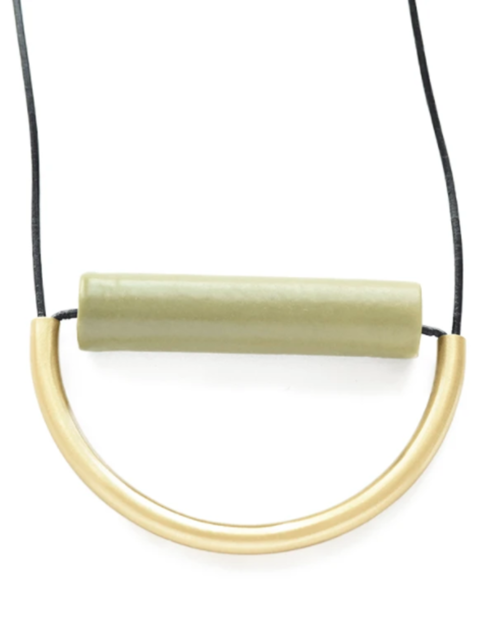 """Ink + Alloy 31"""" Olive Ceramic And Brass Necklace With Leather Cord - INK+ALLOY ceramic bead with brass curved tube 31"""" olive"""
