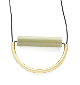 """31"""" Olive Ceramic And Brass Necklace With Leather Cord - INK+ALLOY"""