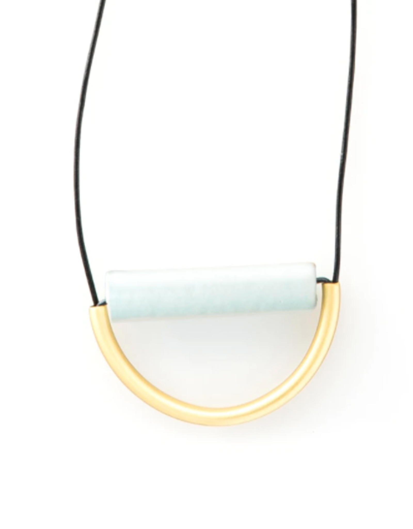 "Ink + Alloy 31"" Sky Blue Ceramic And Brass Necklace With Leather Cord - INK+ALLOY"