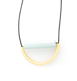 "31"" Sky Blue Ceramic And Brass Necklace With Leather Cord - INK+ALLOY"