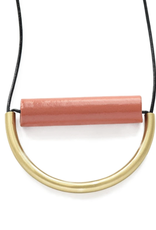 "Ink + Alloy Terra Cotta Ceramic And Brass Necklace With Leather Cord - 31""  INK+ALLOY"