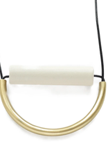 """Ink + Alloy 31"""" White Ceramic And Brass Necklace With Leather Cord - INK+ALLOY"""