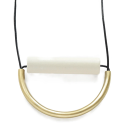 """31"""" White Ceramic And Brass Necklace With Leather Cord - INK+ALLOY"""