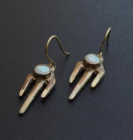 Cast Brass 'Trine' Earrings with Opal - Iron Oxide Designs