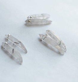 Crystal Tourmalated Quartz Spear Post Earrings - Iron Oxide Designs