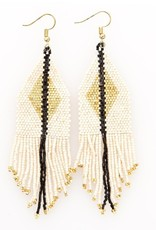 Ink + Alloy Ivory + Gold Luxe Diamond with Fringe Seed Bead Earrings - INK+ALLOY