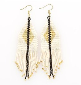 Ivory + Gold Luxe Diamond with Fringe Seed Bead Earrings - INK+ALLOY
