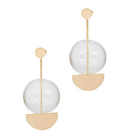 Annika Inez Glass ball Circle stud earring with chain drop